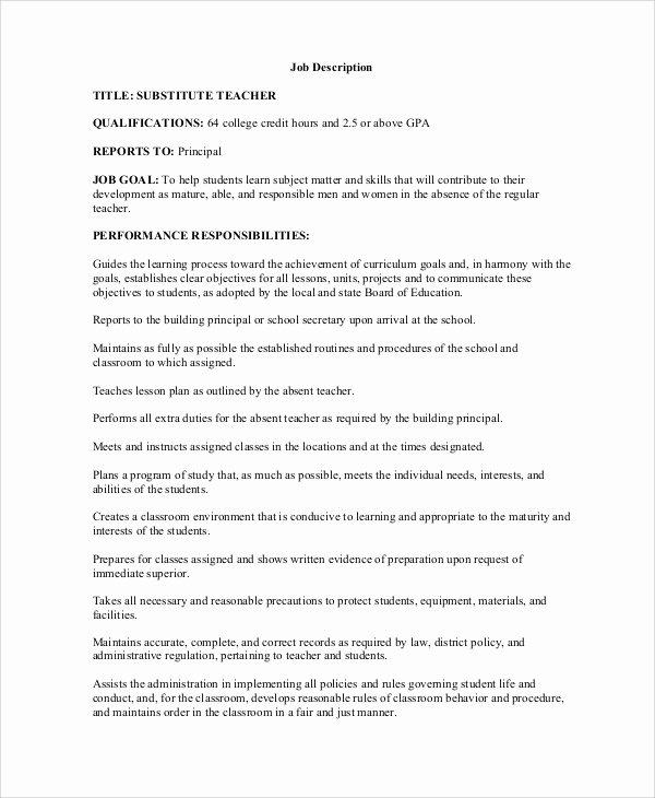 Resume for Substitute Teacher Inspirational Sample Teacher Job Description 12 Examples In Word Pdf