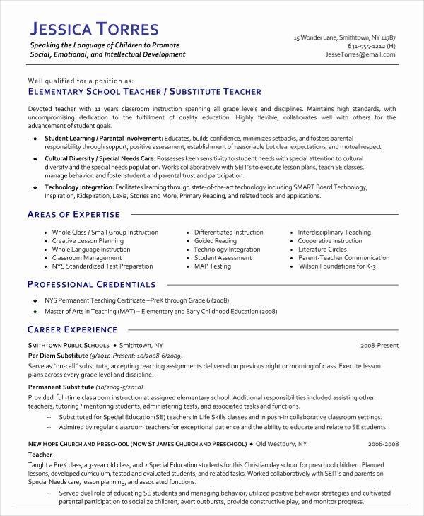 Resume for Substitute Teacher Lovely 9 Substitute Teacher Resume Templates Pdf Doc