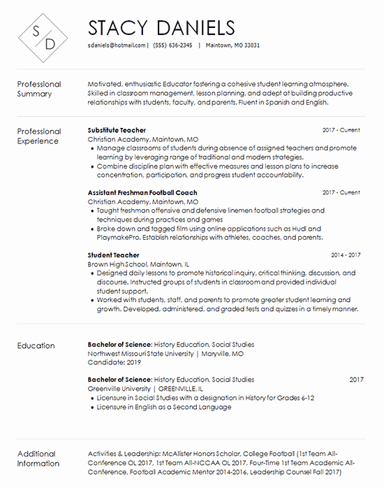 Resume for Substitute Teacher Lovely Teacher Resume Template Substitute and Coach