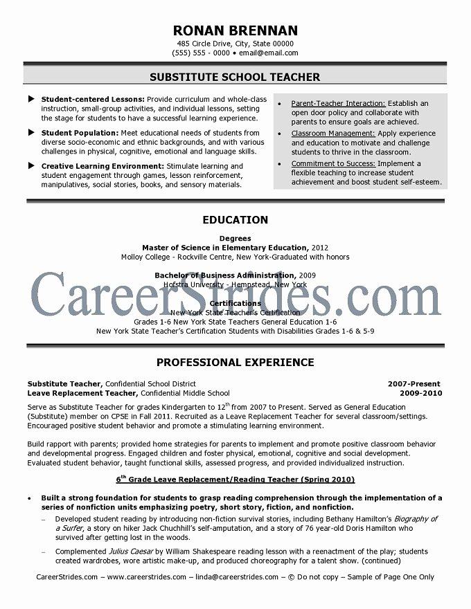 Resume for Substitute Teacher New Substitute Teacher Resume Sample Example