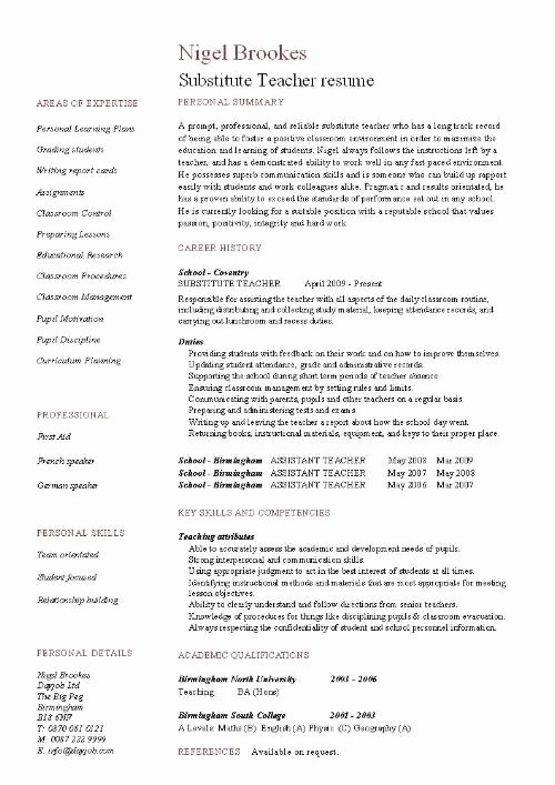 Resume for Substitute Teachers Awesome Substitute Teacher Resume Example Template Sample Teaching Pupils Education Jobs School