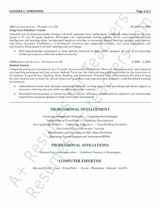 Resume for Substitute Teachers Fresh Substitute Teacher Resume Example Page 2