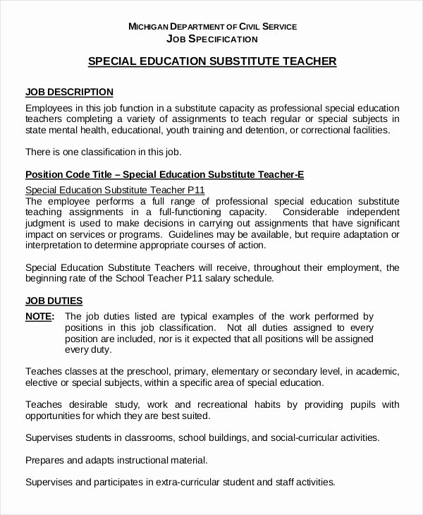 Resume for Substitute Teachers Inspirational 9 Substitute Teacher Resume Templates Pdf Doc