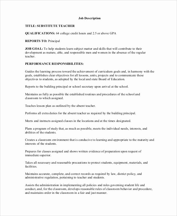 Resume for Substitute Teachers Inspirational Sample Teacher Job Description 12 Examples In Word Pdf
