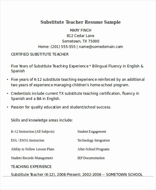 Resume for Substitute Teachers Lovely 25 Teacher Resume Templates In Word