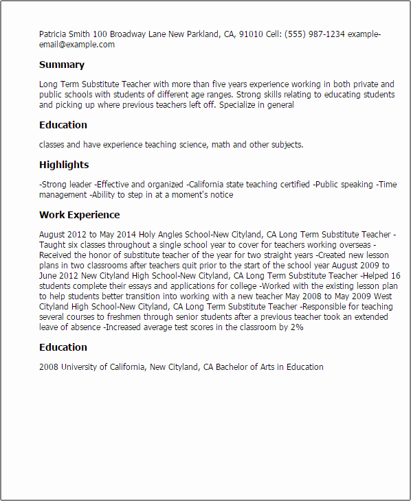Resume for Substitute Teachers Lovely Long Term Substitute Teacher Resume Template — Best Design & Tips