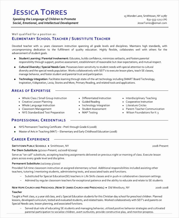 Resume for Substitute Teachers New 9 Substitute Teacher Resume Templates Pdf Doc