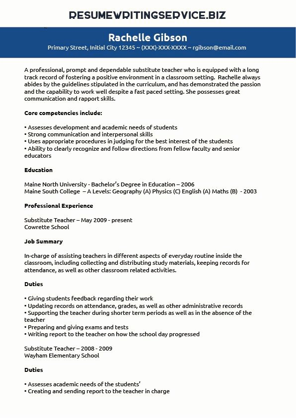 Resume for Substitute Teachers New Substitute Teacher Resume Sample Student Stuff Career