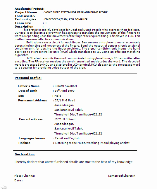 Resume format for Freshers Awesome Perfect Resume format for Freshers