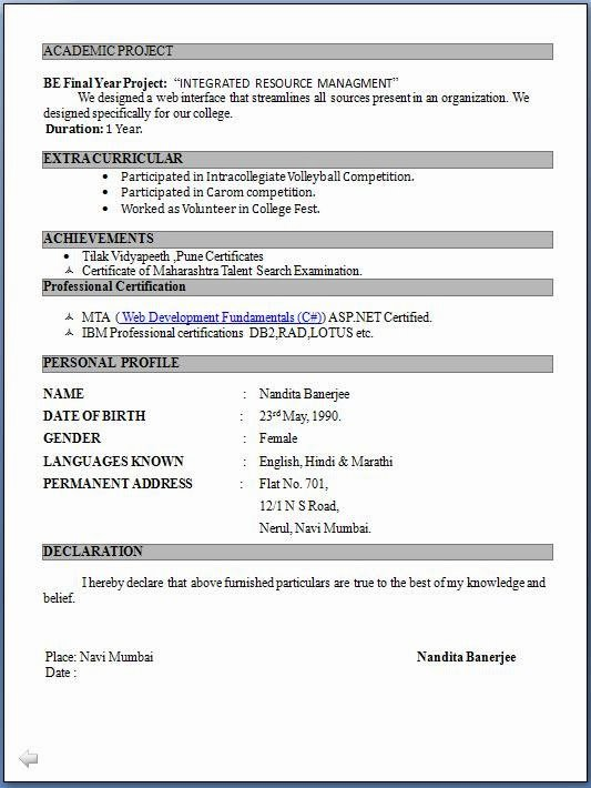 Resume format for Freshers Beautiful 10 Fresher Resume Templates Download Pdf
