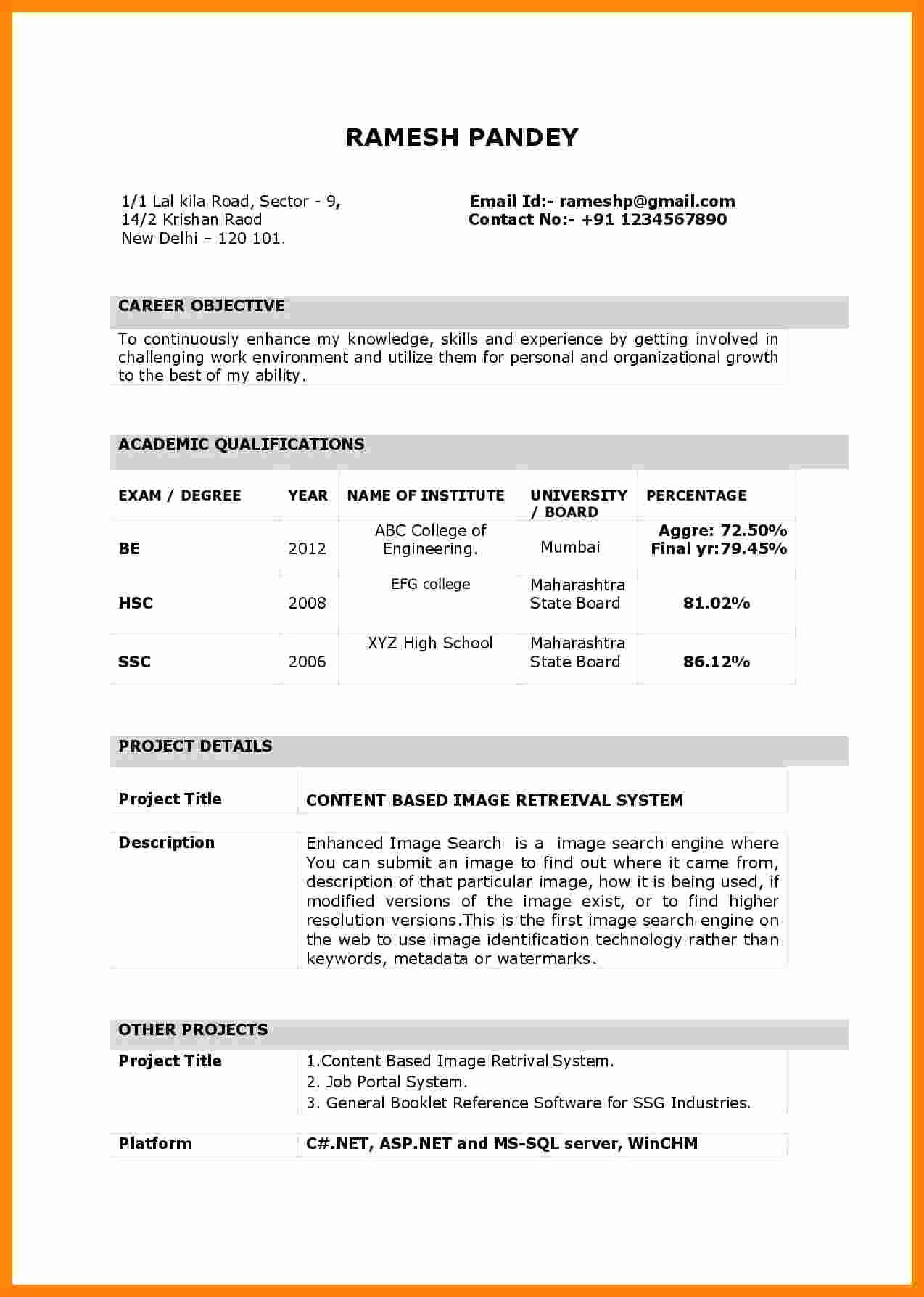 Resume format for Freshers Best Of 10 Cv Sample for Fresher