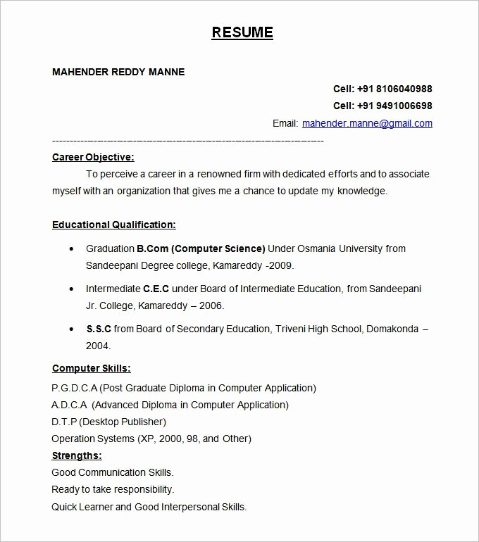 Resume format for Freshers Elegant 47 Best Resume formats Pdf Doc