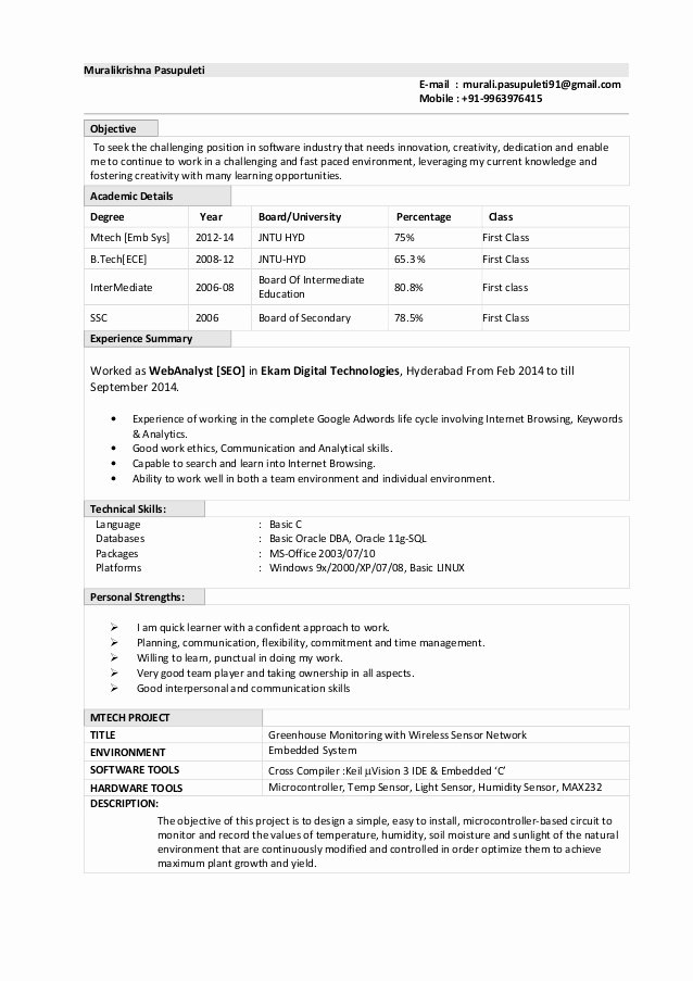 Resume format for Freshers Elegant oracle Dba Fresher Resume