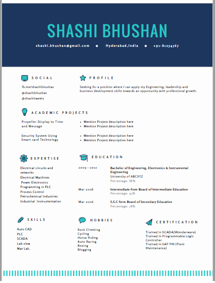 Resume format for Freshers Fresh Resume format Cv format Freshers Resume Sample Templates