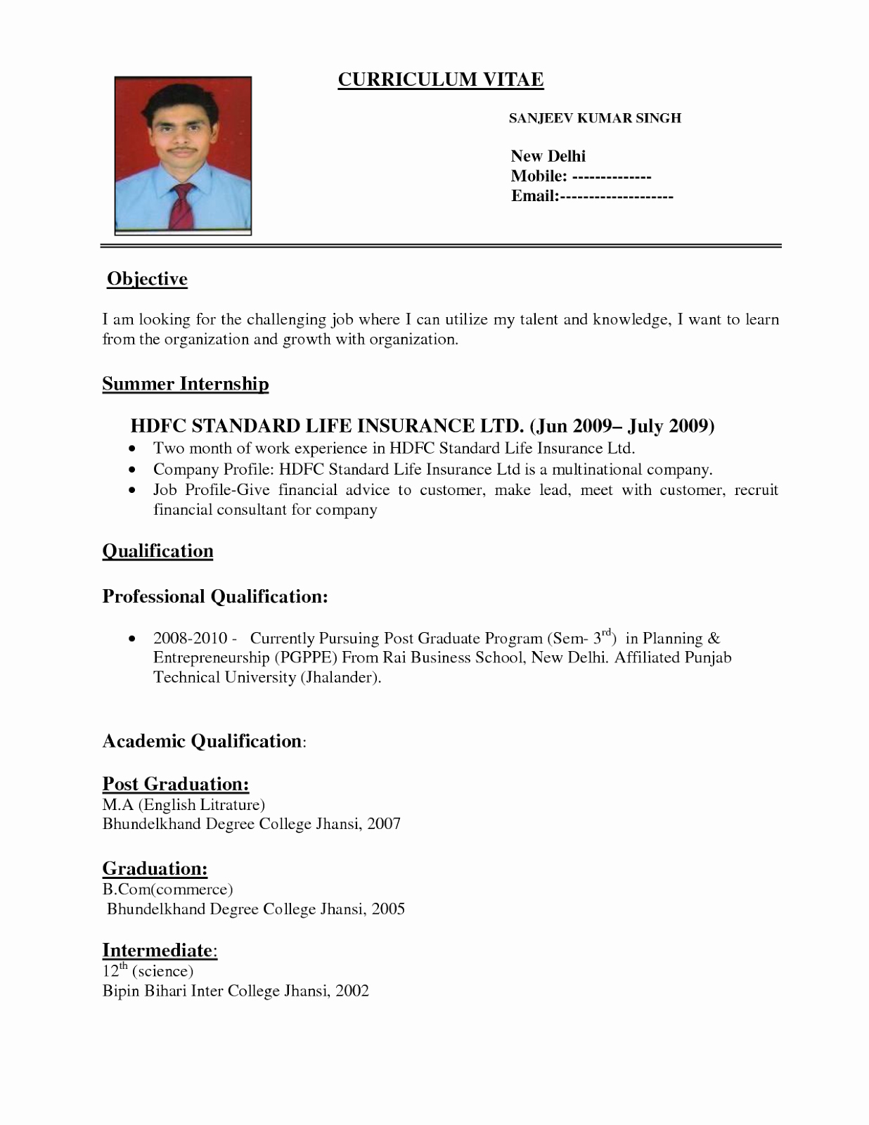 Resume format for Freshers Luxury 10 Fresher Resume Templates Download Pdf