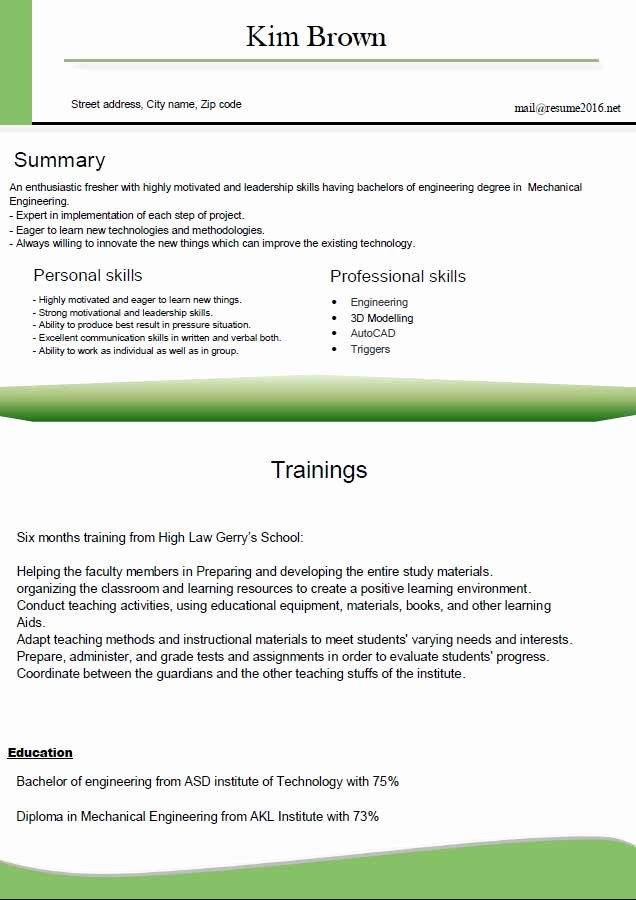Resume format for Freshers Luxury Resume format 2016 12 Free to Word Templates