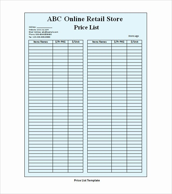 Retail Store Checklist Template Inspirational 31 Price List Templates Doc Pdf Excel Psd