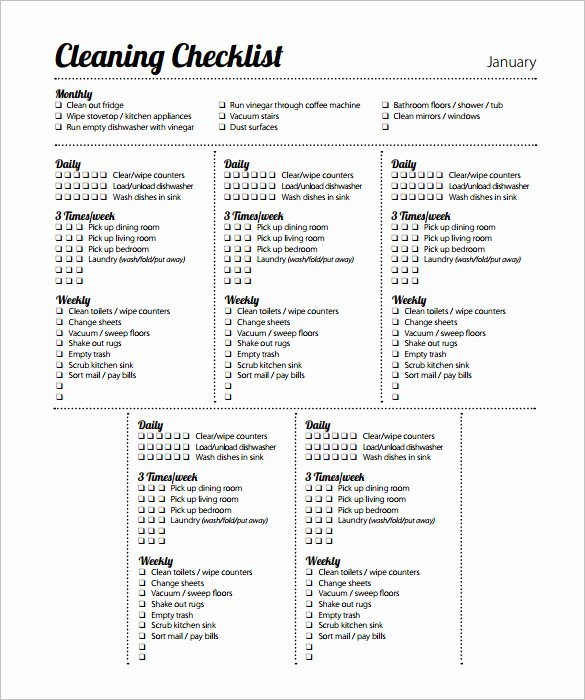 Retail Store Checklist Template New 45 Cleaning Schedule Templates Pdf Doc Xls