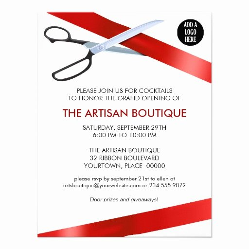 Ribbon Cutting Invitation Templates Elegant Red Ribbon Cutting Grand Opening 4 25x5 5 Paper Invitation