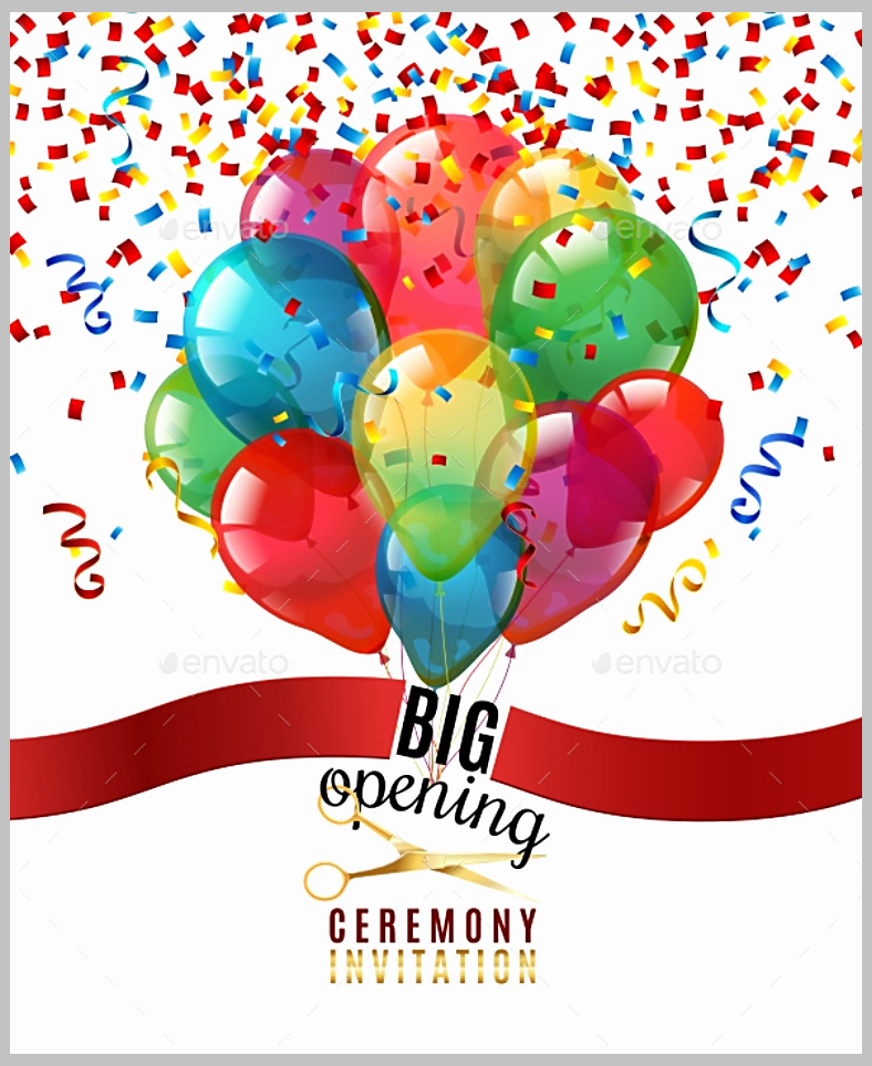 Ribbon Cutting Invitation Templates Unique 13 Confetti Invitation Designs & Templates Psd Ai