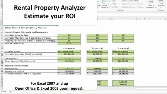 Roi Calculator Excel Template Awesome Investment Property Analyzer Rental Property Calculator Investment Property Roi From