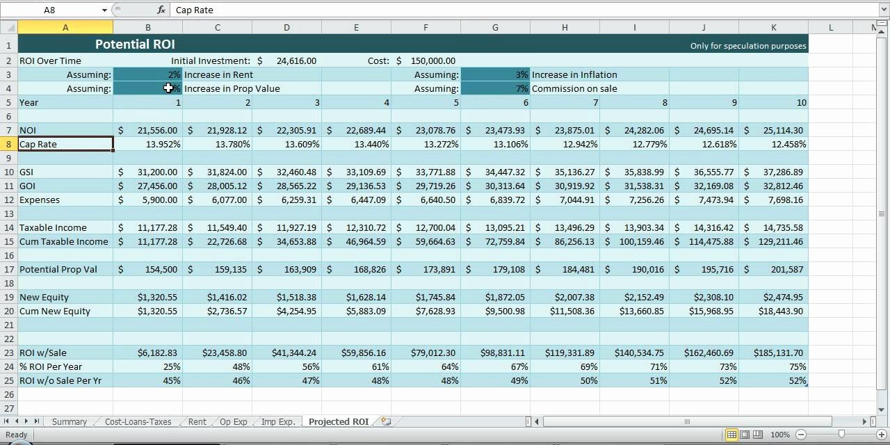 Roi Calculator Excel Template Beautiful Investment Property Spreadsheet Real Estate Excel Roi In E Noi Template