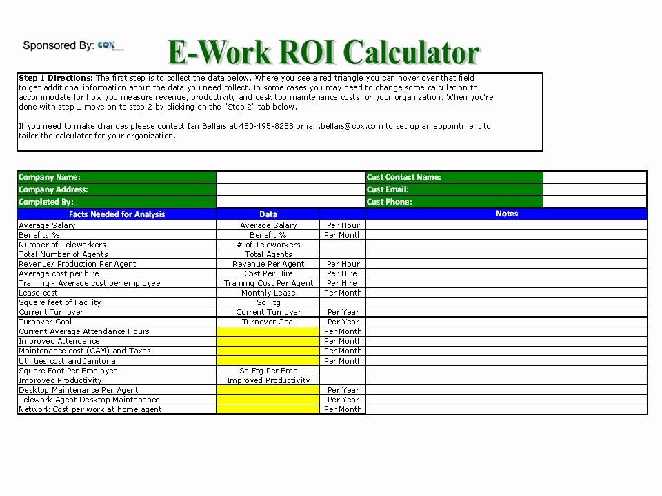 "Roi Calculator Excel Template Inspirational ""work at Home"" Roi Calculator is now Available – the Virtual Consultant"