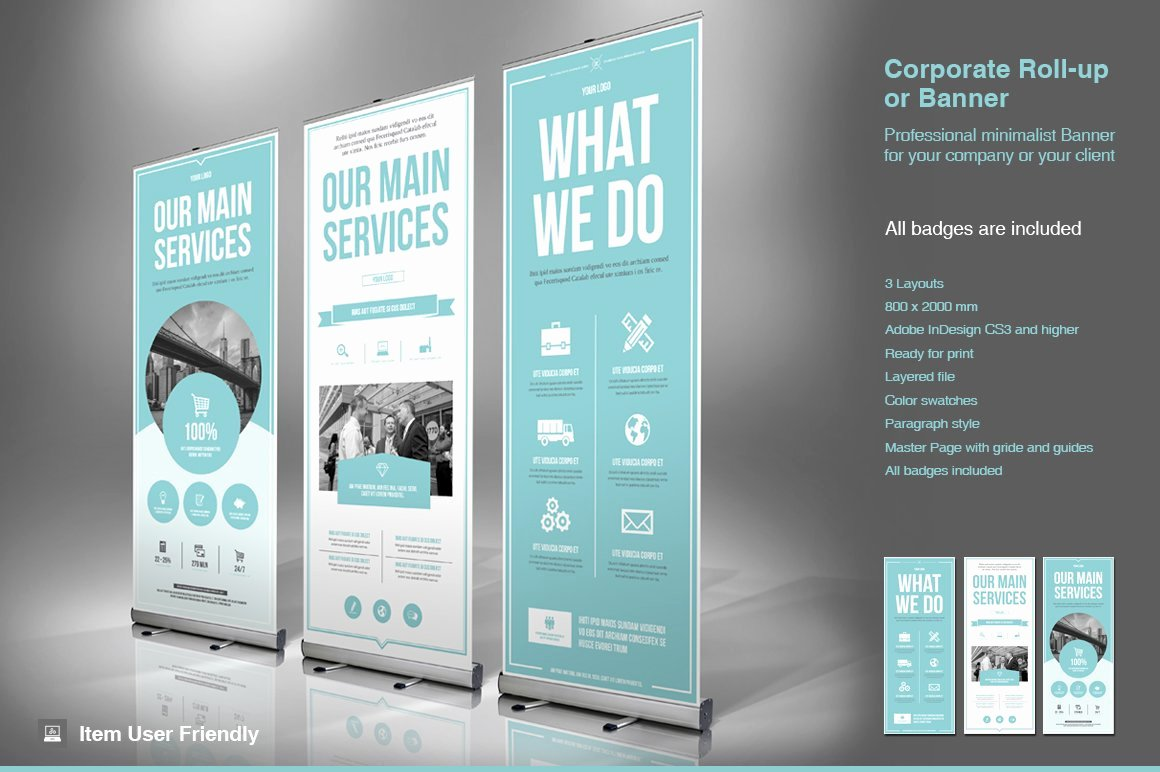 Roll Up Banner Design Elegant Business Roll Up Banner Flyer Templates Creative Market