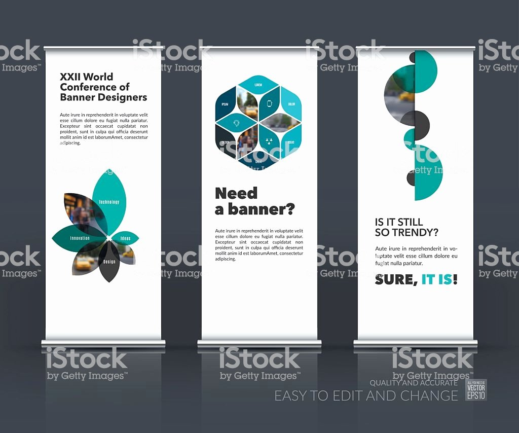 Roll Up Banner Design Luxury Vector Set Modern Roll Up Banner Stand Design with Stock Vector Art
