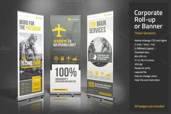 Roll Up Banner Design Unique Corporate Roll Up or Banner by Paulnomade On Creative Market