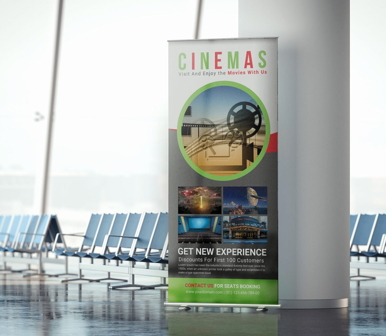 Roll Up Banner Mockup Beautiful Cinema Hall Rollup Banner Psd Mockup Download Free