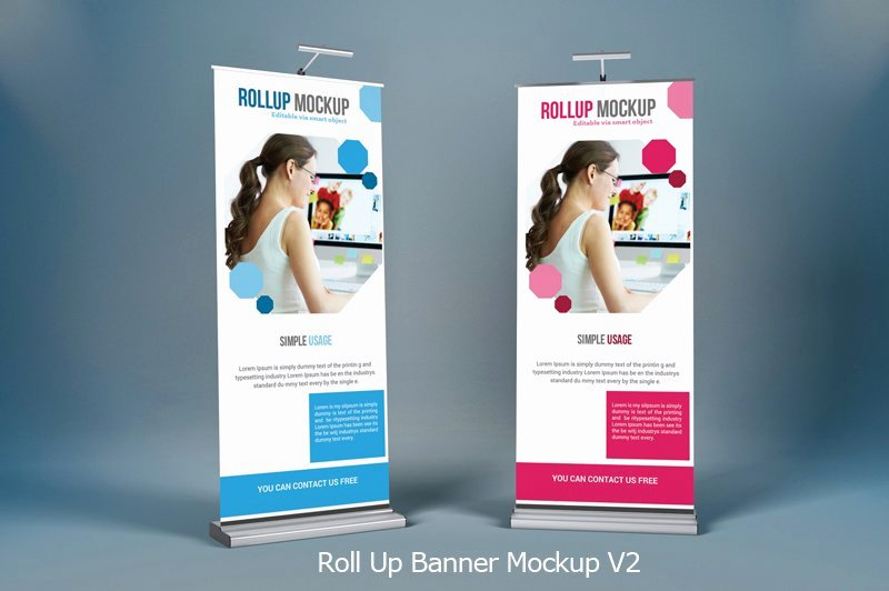 Roll Up Banner Mockup Lovely Roll Up Banner Mock Ups V2 Mockup Templates Creative Market