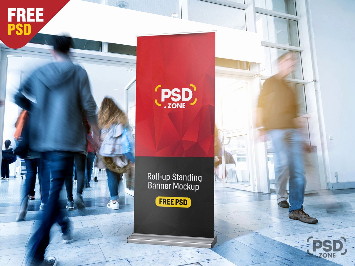 Roll Up Banner Mockup New Roll Up Standing Banner Mockup Psd Psd Zone