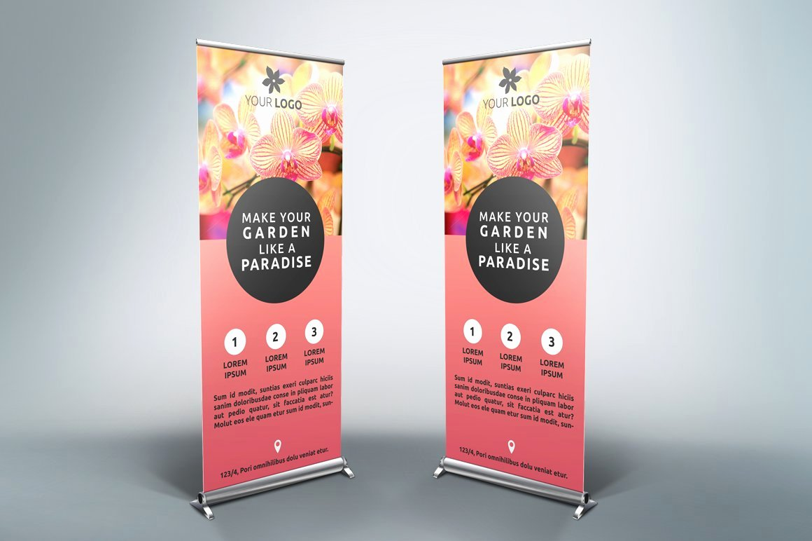 Roll Up Banner Template Best Of Flower Roll Up Banner Sk Flyer Templates Creative Market