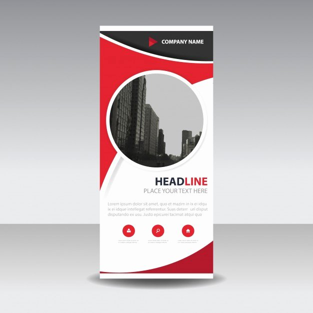 Roll Up Banner Template Best Of Red Circle Creative Roll Up Banner Template Vector