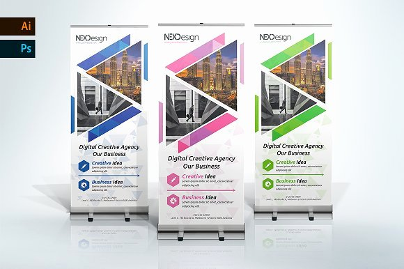 Roll Up Banners Designs Awesome Corporate Roll Up Banner Nex Templates Creative Market