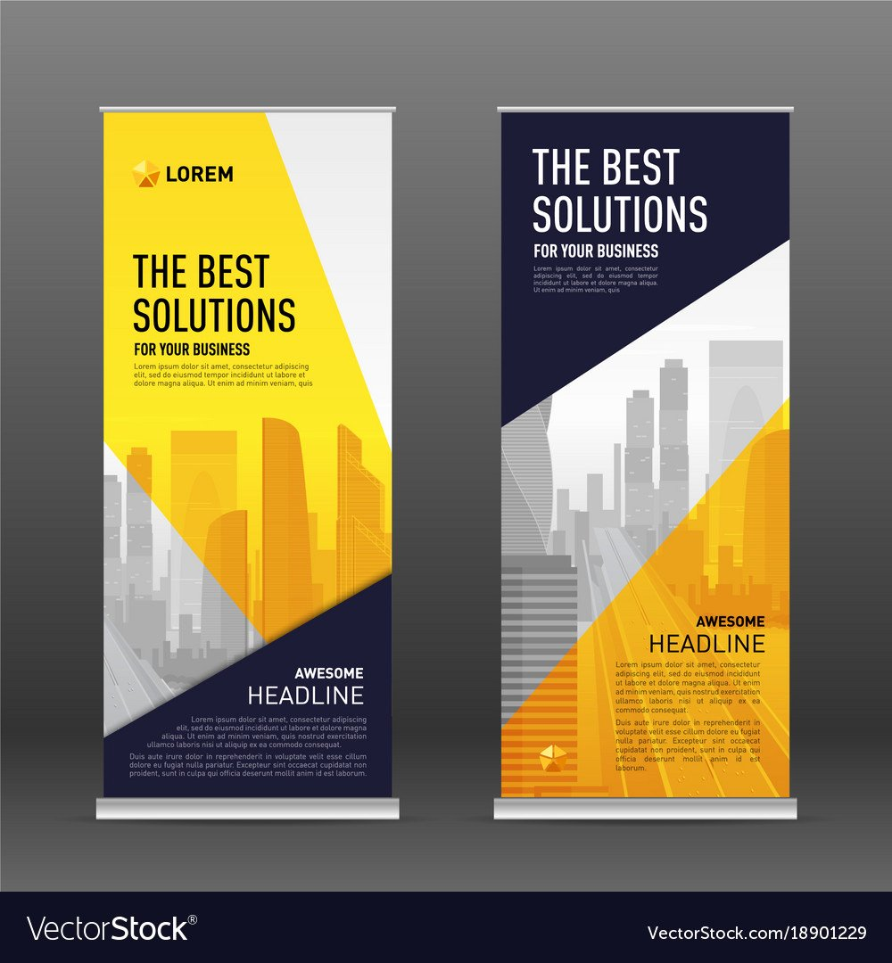 Roll Up Banners Designs Inspirational Corporate Roll Up Banner Design Template Vector Image