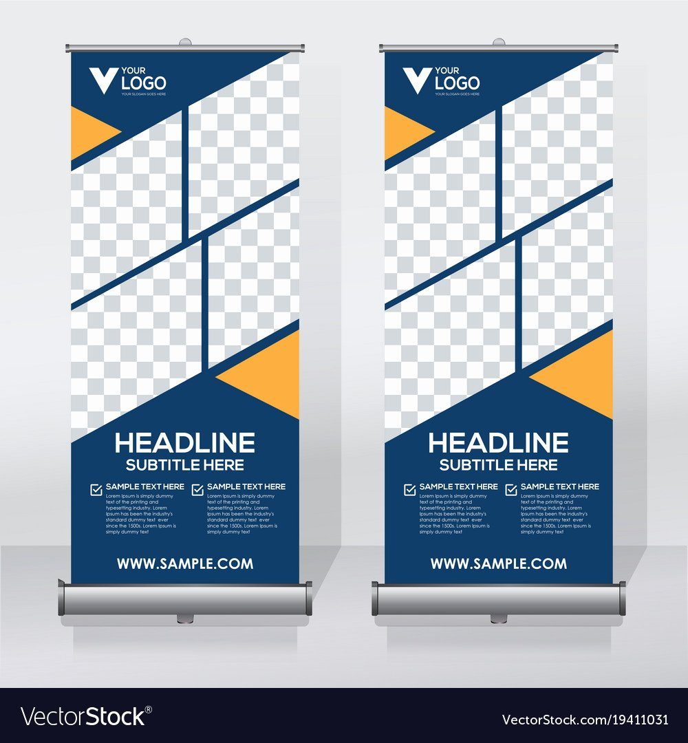 Roll Up Banners Template Awesome Creative Roll Up Banner Design Template Royalty Free Vector