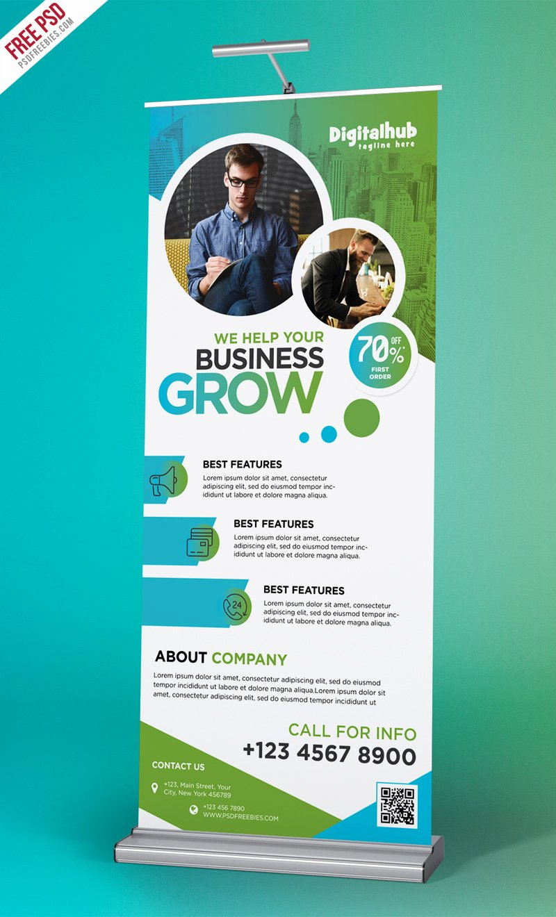Roll Up Banners Template Inspirational Business Promotion Roll Up Banner Template Psd