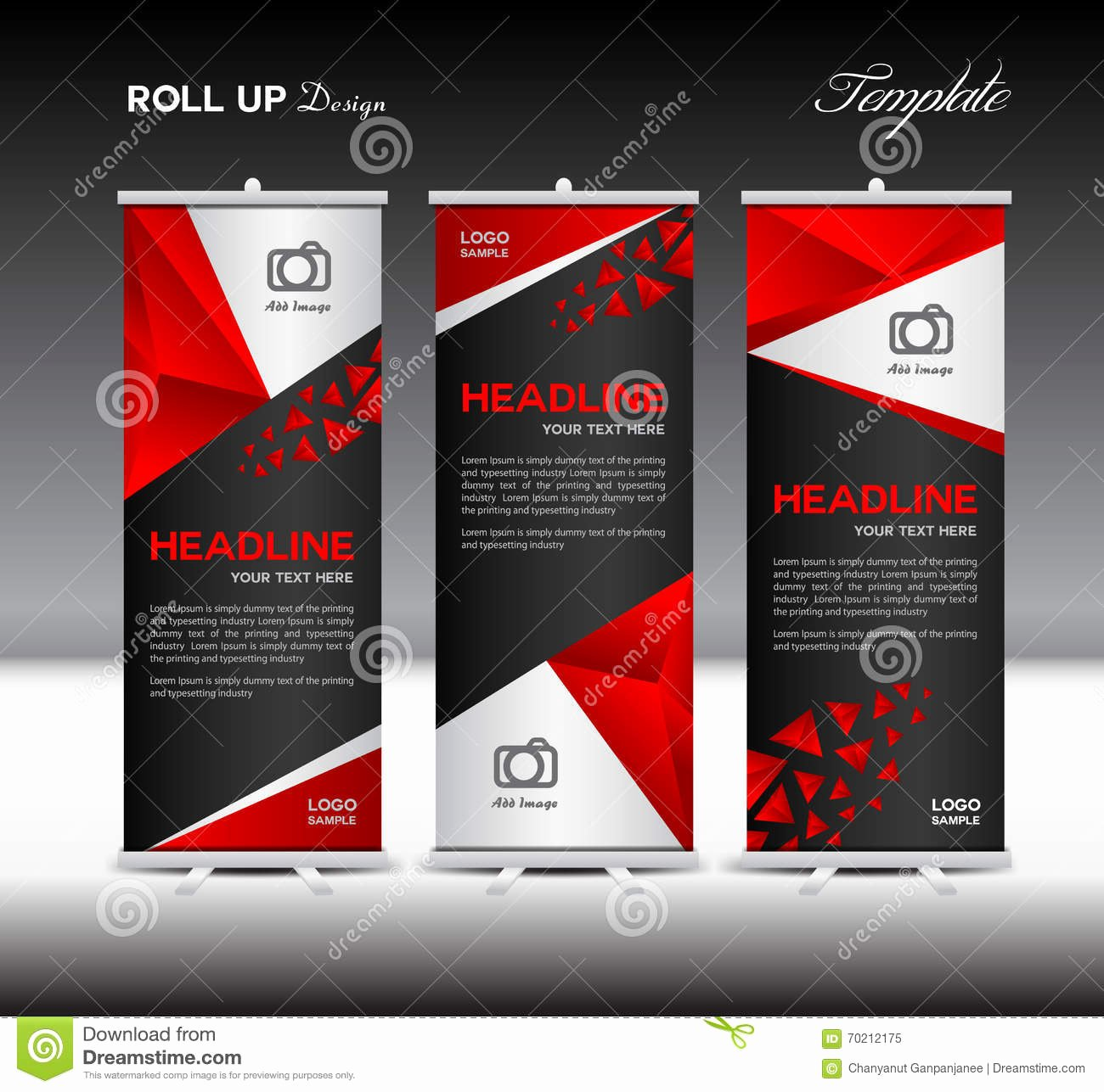 Roll Up Banners Template Luxury Red Roll Up Banner Template Vector Illustration Banner