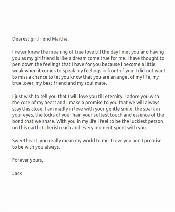 Romantic Letters for Girlfriend Unique Sample Love Letters for Her 7 Examples In Word