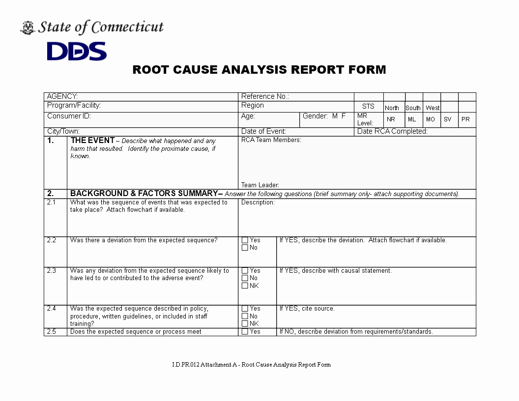 root cause report form