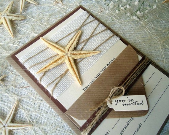 rustic invitations beach wedding