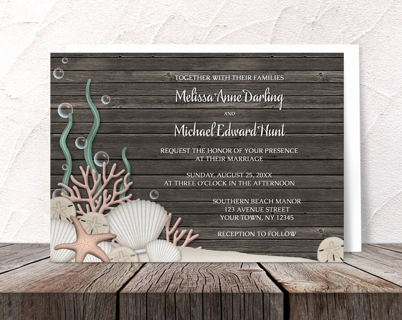 Rustic Beach Wedding Invitations Inspirational Beach Wedding Invitations Rustic Seashells Sand and Brown