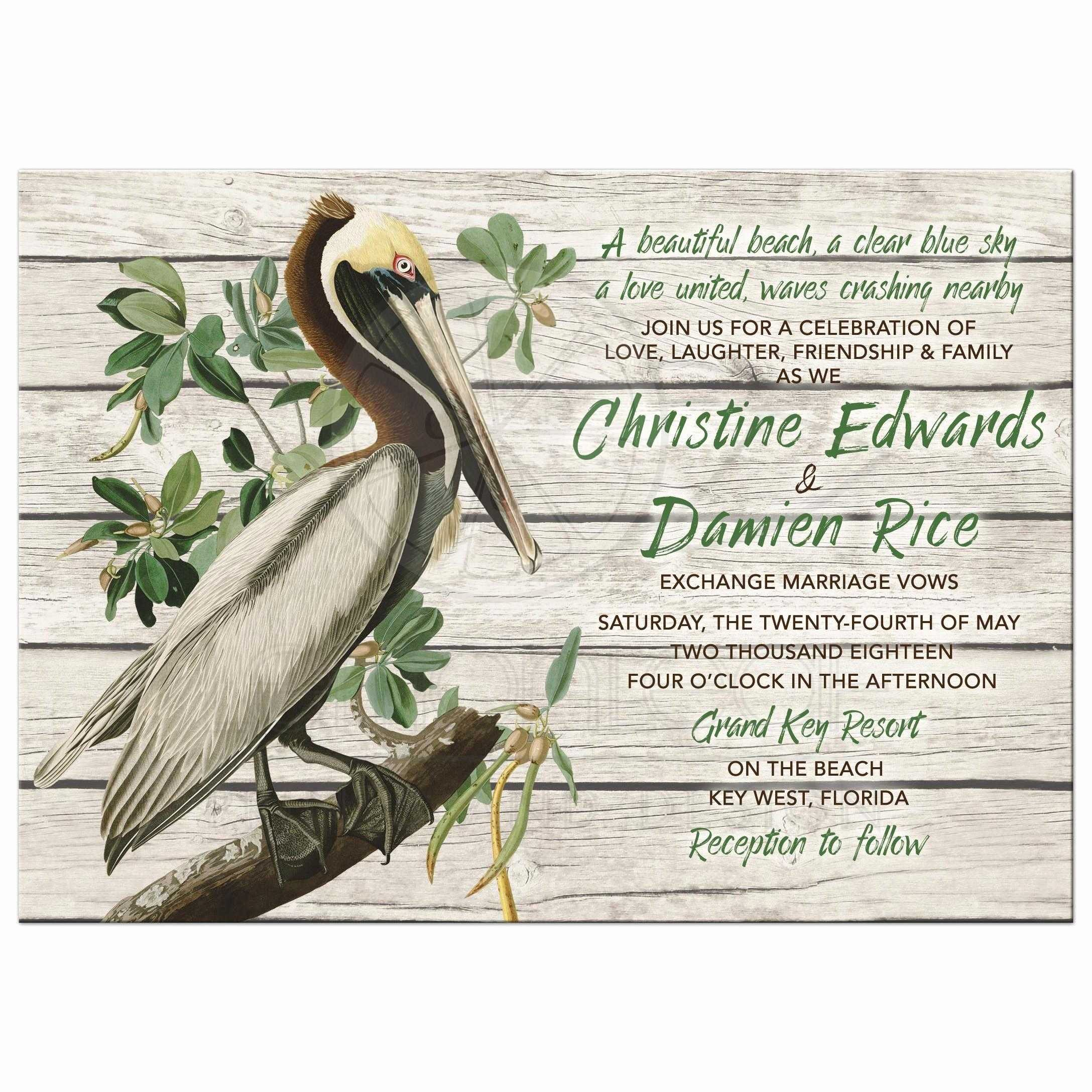 Rustic Beach Wedding Invitations Inspirational Rustic Pelican Destination or Beach Wedding Invitation