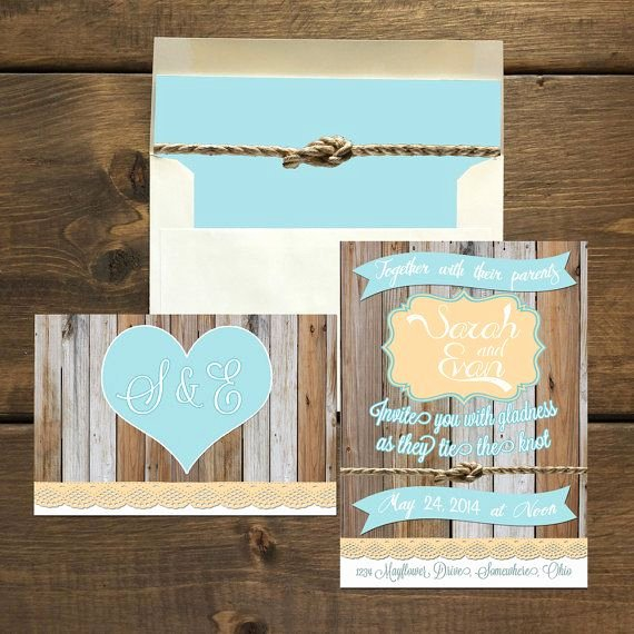 Rustic Beach Wedding Invitations Lovely New Rustic Beach Wedding Invitation & Rsvp Postcard with Matching Envelopes and Liners by