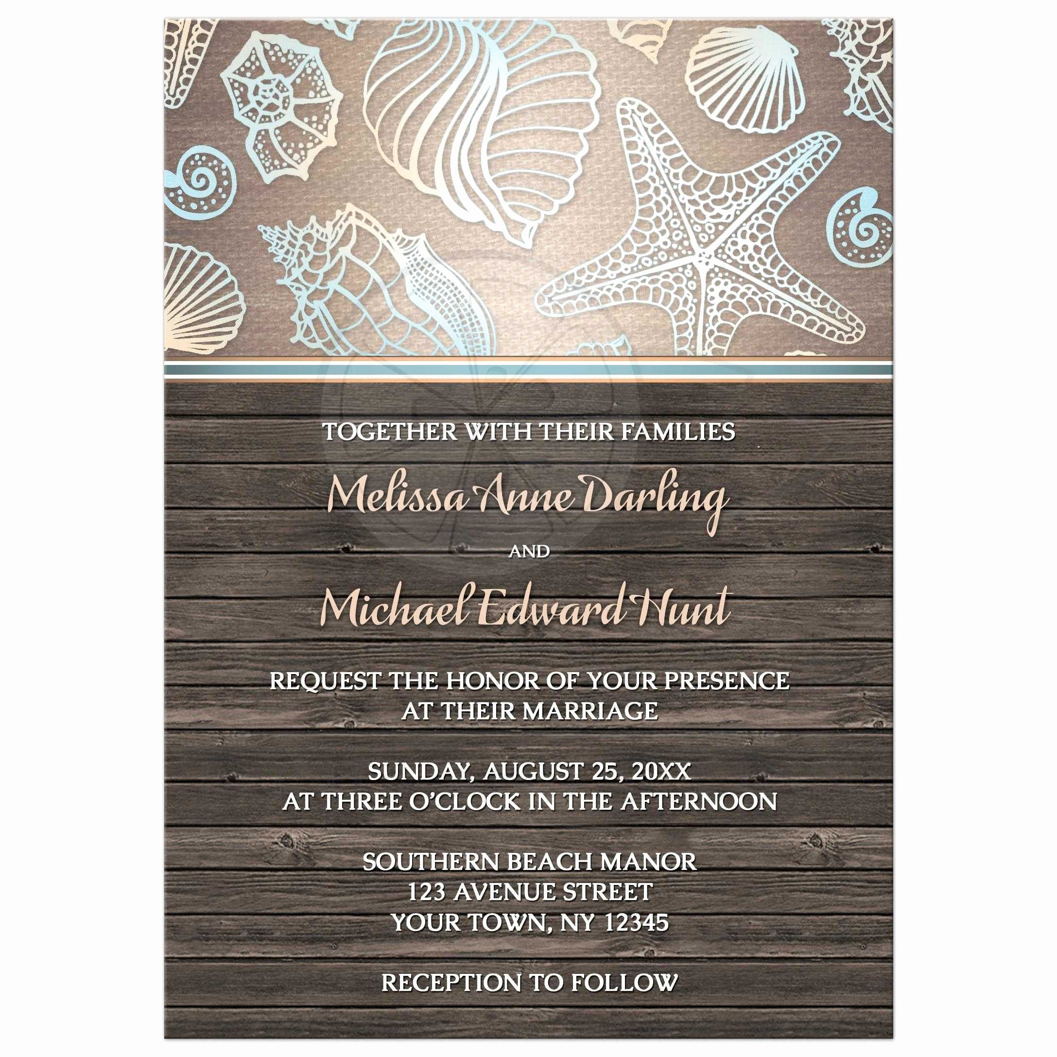 Rustic Beach Wedding Invitations Lovely Wedding Invitations Rustic Wood Beach Seashell