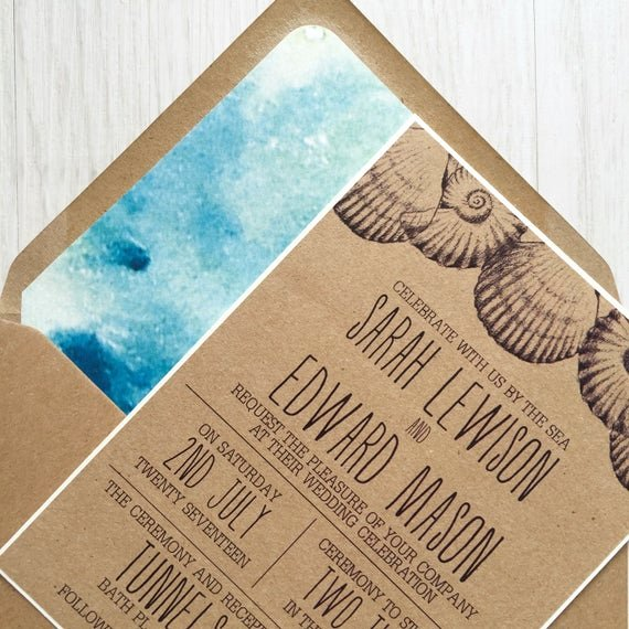 Rustic Beach Wedding Invitations Luxury Rustic Beach Wedding Invitation Kraft Wedding Invitation