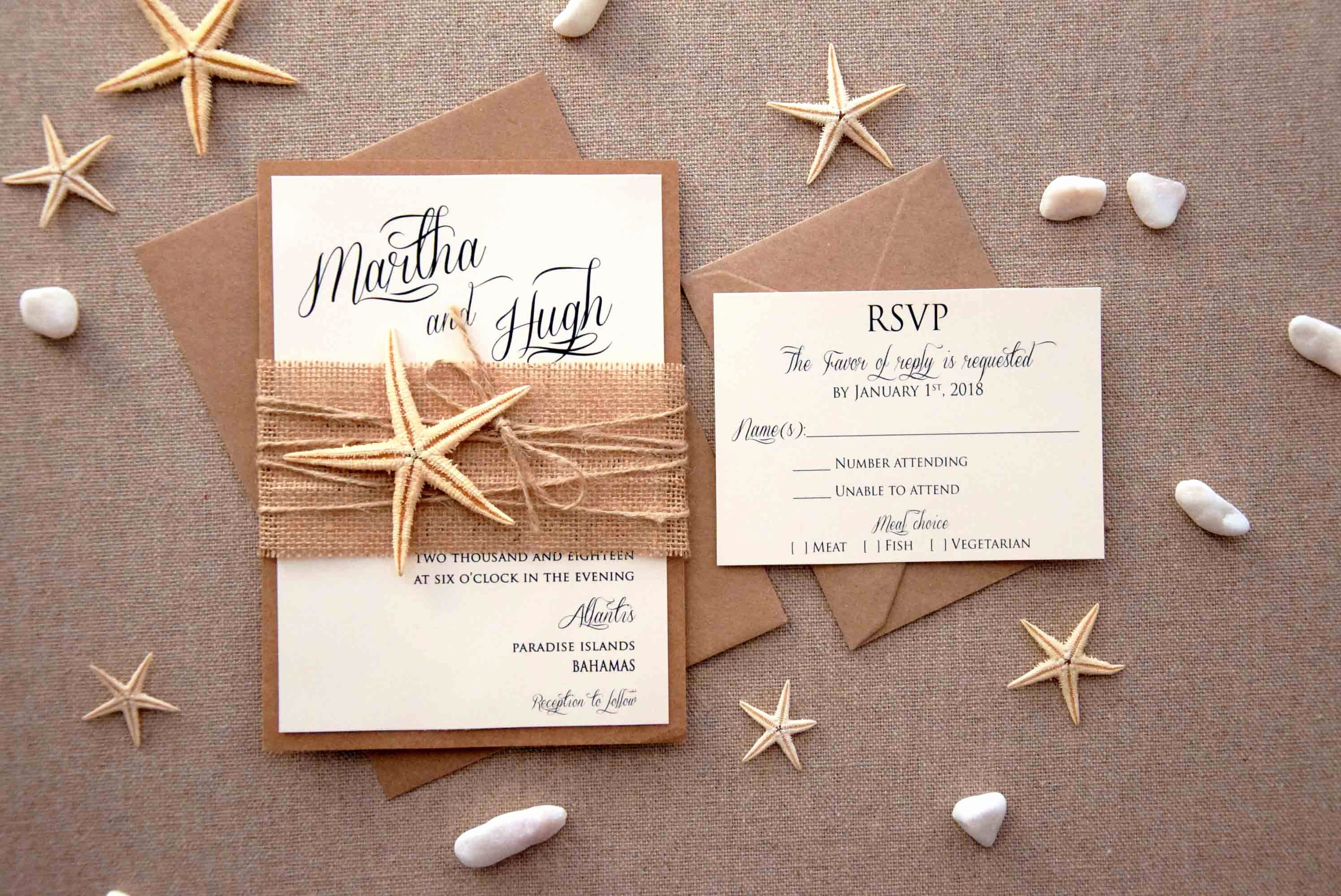 Rustic Beach Wedding Invitations New Rustic Invitations Beach Wedding Invitation Starfish