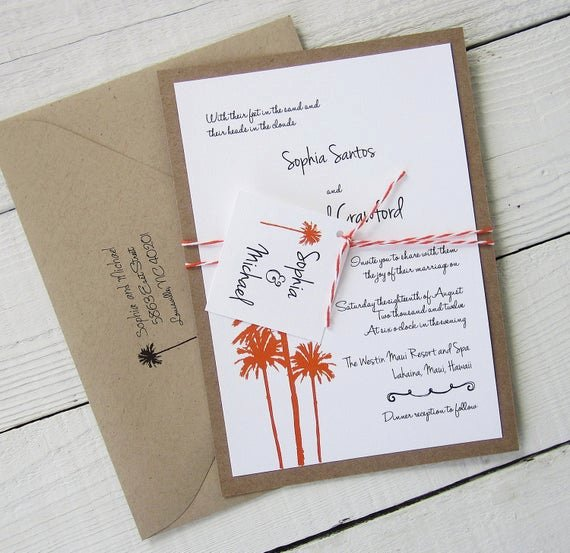 Rustic Beach Wedding Invitations Unique Items Similar to Palm Tree Wedding Invitation Rustic Vintage Beach Hawaiian Ocean Tropical